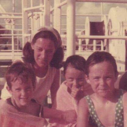 Liz Jennings Clark with Mom and Siblings on their way to Saint-Lucia in 1974.